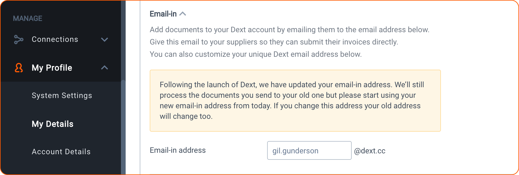 email-in address for Dext